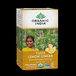 אורגניק אינדיה תה טולסי ג'ינג'ר לימון נטול קפאין 18 שקיקים חליטה - מבית Organic India
