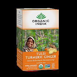 אורגניק אינדיה תה טולסי ג'ינג'ר כורכום נטול קפאין 18 שקיקים חליטה - מבית Organic India