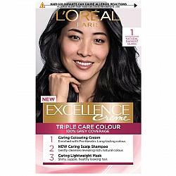 לוריאל אקסלנס קרם צבע שיער קבוע לטיפוח עשיר - בגוון 1 שחור