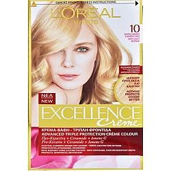 לוריאל אקסלנס קרם צבע שיער קבוע לטיפוח עשיר - בגוון 10 בלונד מאוד מאוד בהיר