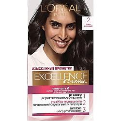 לוריאל אקסלנס קרם צבע שיער קבוע לטיפוח עשיר - בגוון 2 חום שחור