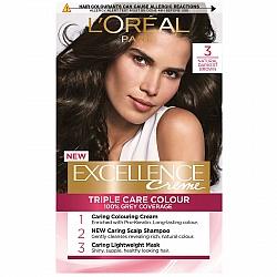 לוריאל אקסלנס קרם צבע שיער קבוע לטיפוח עשיר - בגוון 3 חום כהה