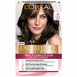 לוריאל אקסלנס קרם צבע שיער קבוע לטיפוח עשיר - בגוון 4 חום כהה טבעי