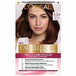 לוריאל אקסלנס קרם צבע שיער קבוע לטיפוח עשיר - בגוון 4.54 חום מהגוני נחושתי