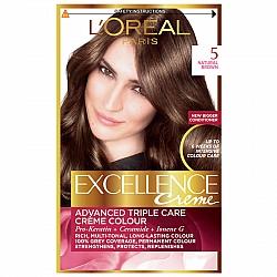 לוריאל אקסלנס קרם צבע שיער קבוע לטיפוח עשיר - בגוון 5 חום טבעי