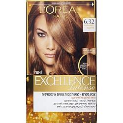 לוריאל אקסלנס קרם צבע שיער קבוע לטיפוח עשיר - בגוון 6.32 חום בהיר זהוב מעודן