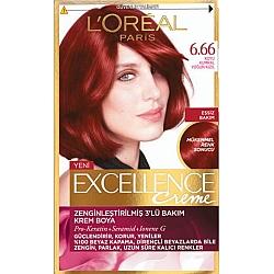 לוריאל אקסלנס קרם צבע שיער קבוע לטיפוח עשיר - בגוון 6.66 אדום אינטנסיבי לוהט