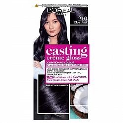לוריאל קסטינג קרם גלוס צבע שיער ללא אמוניה למראה מבריק ועשיר - בגוון 210 שחור כחול