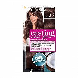 לוריאל קסטינג קרם גלוס צבע שיער ללא אמוניה למראה מבריק ועשיר - בגוון 412 חום קקאו קר