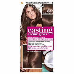 לוריאל קסטינג קרם גלוס צבע שיער ללא אמוניה למראה מבריק ועשיר - בגוון 500 חום טבעי