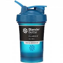 """בלנדר בוטל שייקר קלאסי באיכות גבוהה כדורים עם קפיץ - אוקיינוס כחול - 590 מ""""ל - Blender Bottle"""