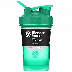 """בלנדר בוטל שייקר קלאסי באיכות גבוהה כדורים עם קפיץ - ירוק - 590 מ""""ל - Blender Bottle"""