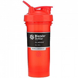 """בלנדר בוטל שייקר קלאסי באיכות גבוהה כדורים עם קפיץ - צבע אדום - 828 מ""""ל - Blender Bottle"""