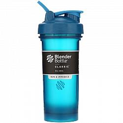 """בלנדר בוטל שייקר קלאסי באיכות גבוהה כדורים עם קפיץ - צבע אוקיינוס - 828 מ""""ל - Blender Bottle"""
