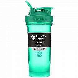 """בלנדר בוטל שייקר קלאסי באיכות גבוהה כדורים עם קפיץ - צבע ירוק - 828 מ""""ל - Blender Bottle"""