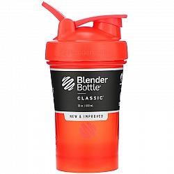 """בלנדר בוטל שייקר קלאסי באיכות גבוהה כדורים עם קפיץ - צבע כתום אדום - 590 מ""""ל - Blender Bottle"""