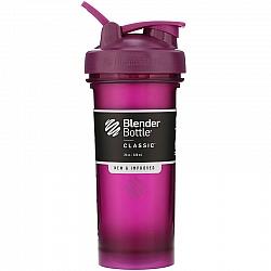 """בלנדר בוטל שייקר קלאסי באיכות גבוהה כדורים עם קפיץ - צבע שזיף - 828 מ""""ל - Blender Bottle"""