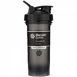"""בלנדר בוטל שייקר קלאסי באיכות גבוהה כדורים עם קפיץ - צבע שחור - 828 מ""""ל - Blender Bottle"""